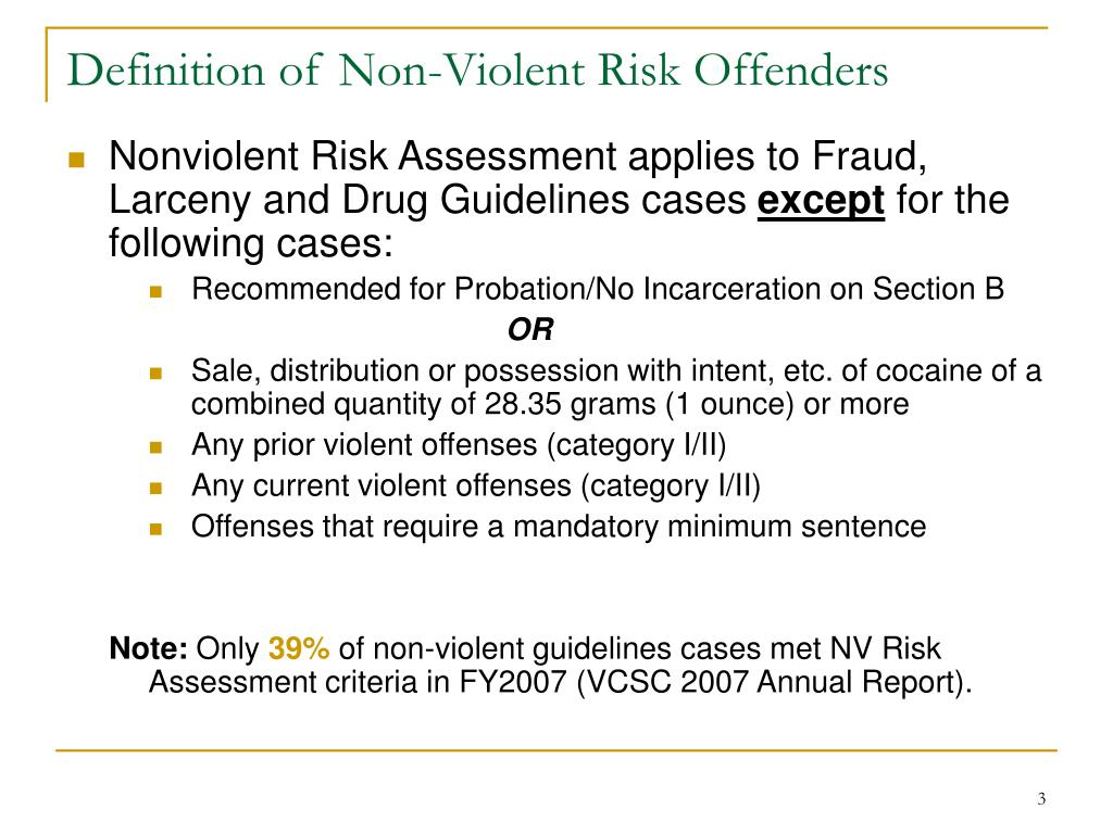 Definition of Non-Violent Risk Offenders