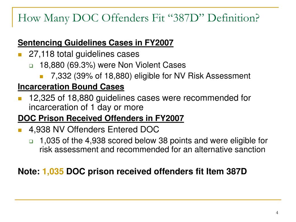 """How Many DOC Offenders Fit """"387D"""" Definition?"""