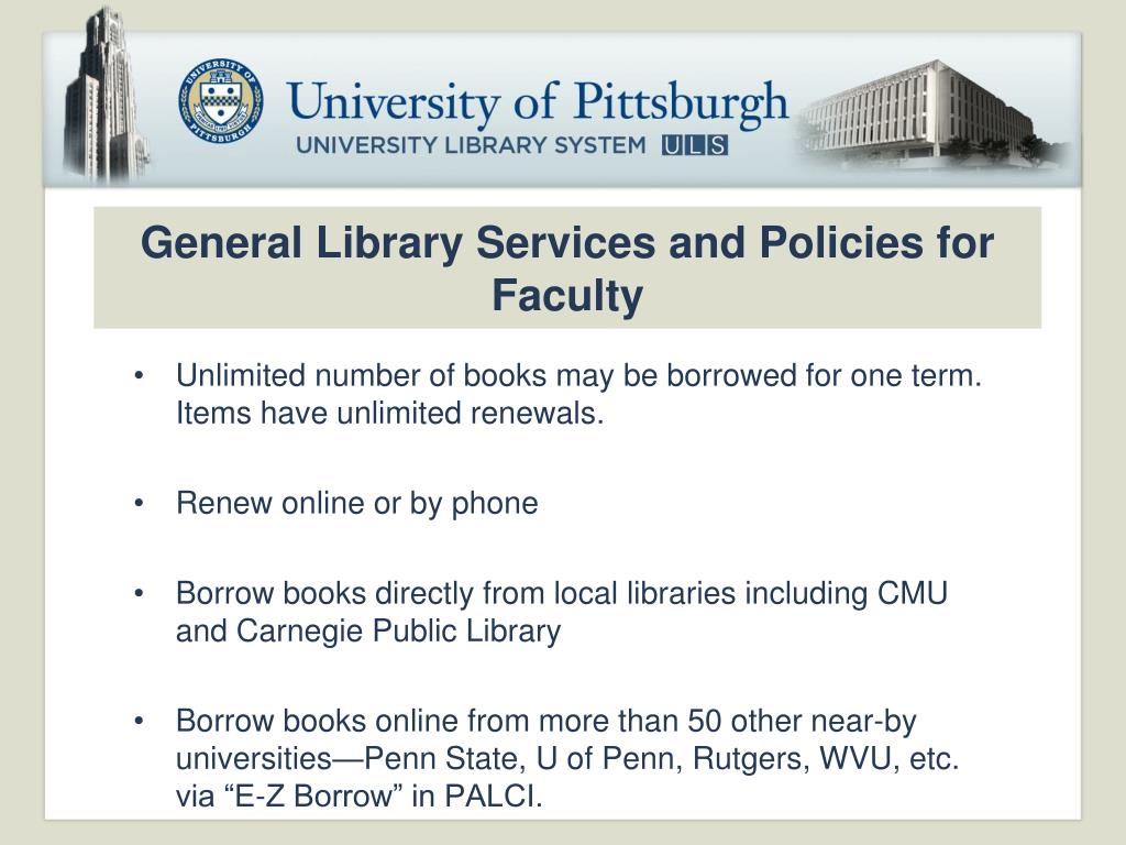 General Library Services and Policies for Faculty