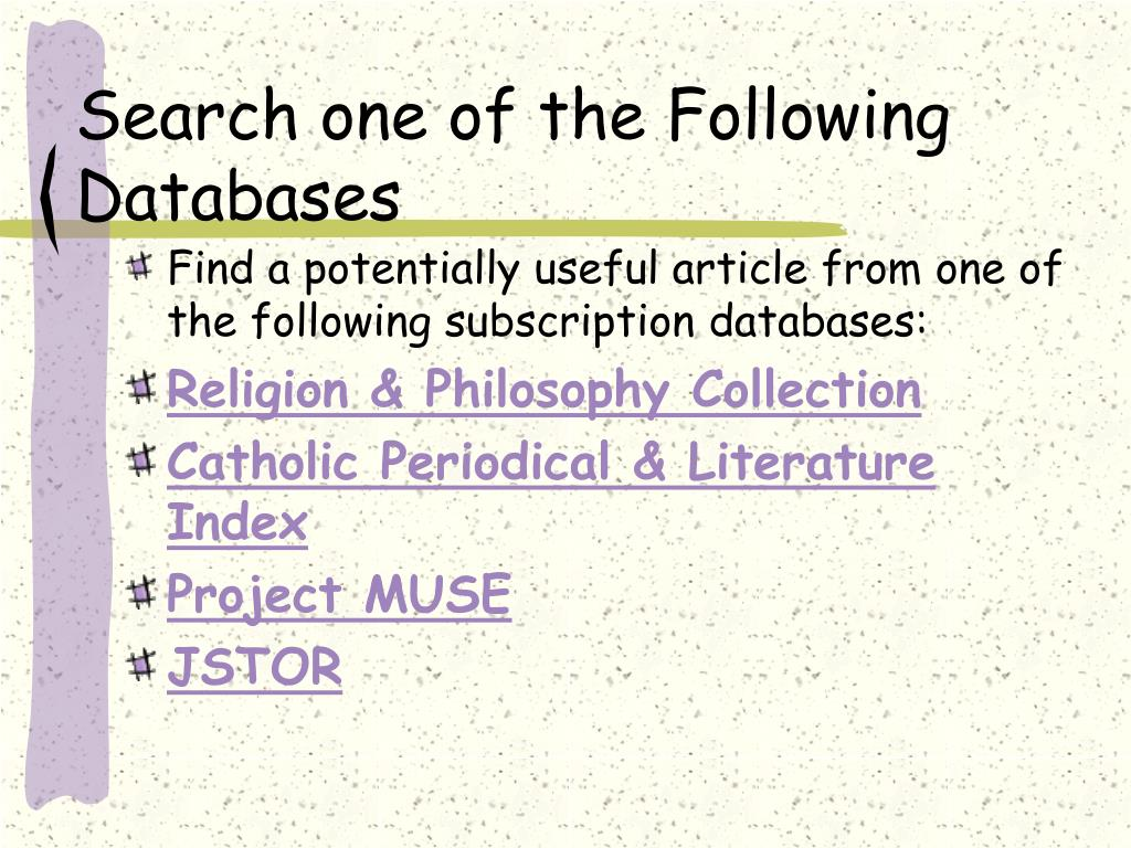 Search one of the Following Databases