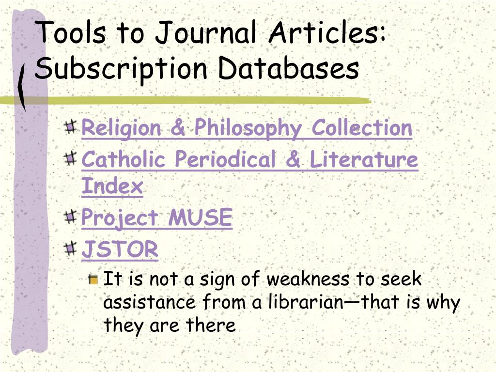 Tools to Journal Articles:
