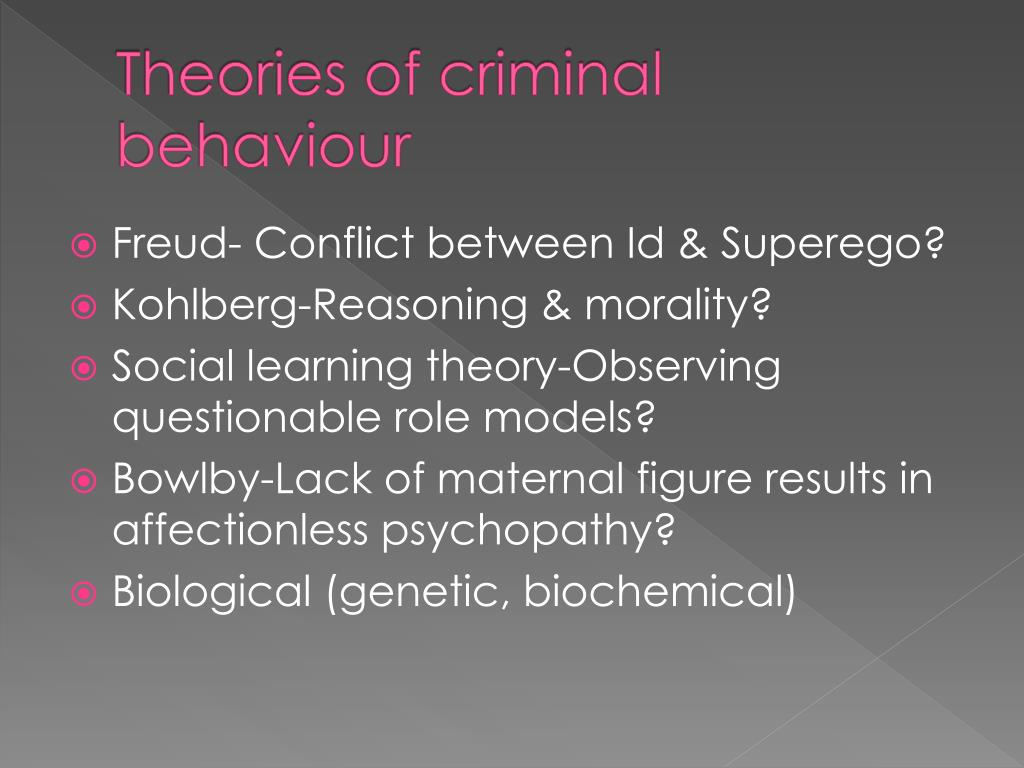 biological theories and criminal behavior Definition of crime causation: psychological theories children who are separated from a biological parent are more likely to criminal behavior as a.