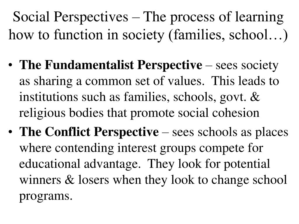 Social Perspectives – The process of learning how to function in society (families, school…)