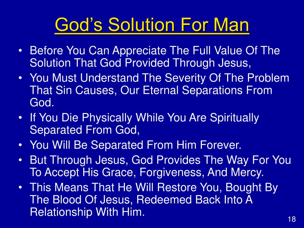 God's Solution For Man