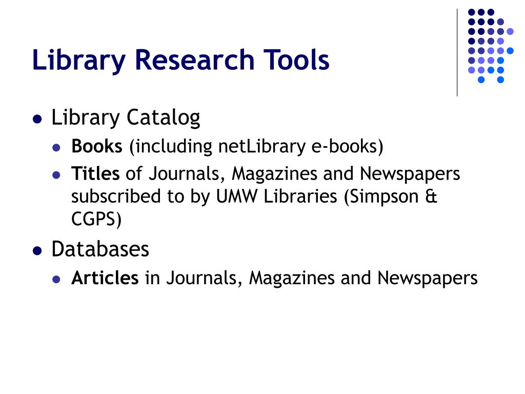 Library Research Tools