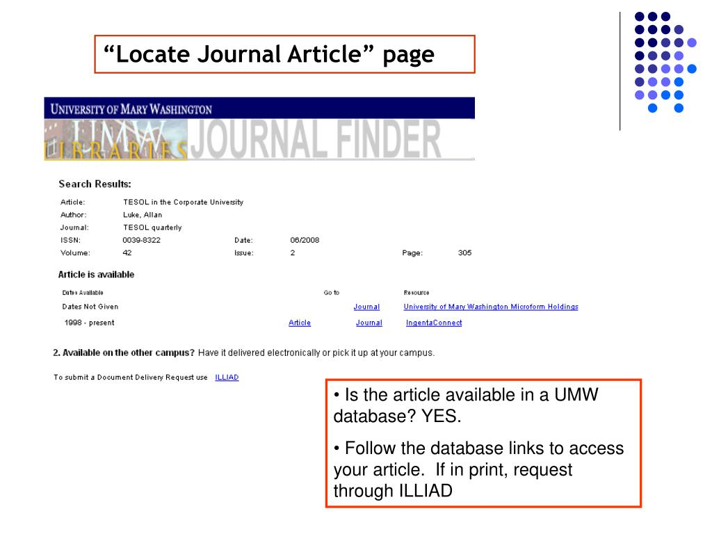 """Locate Journal Article"" page"