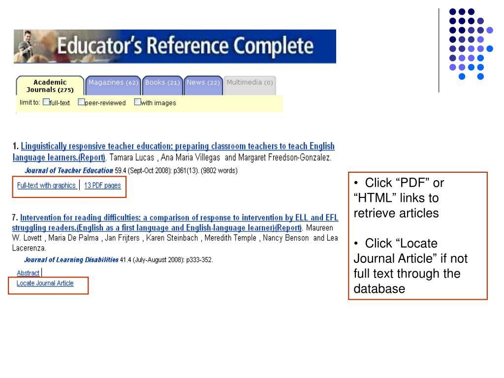 """Click """"PDF"""" or """"HTML"""" links to retrieve articles"""