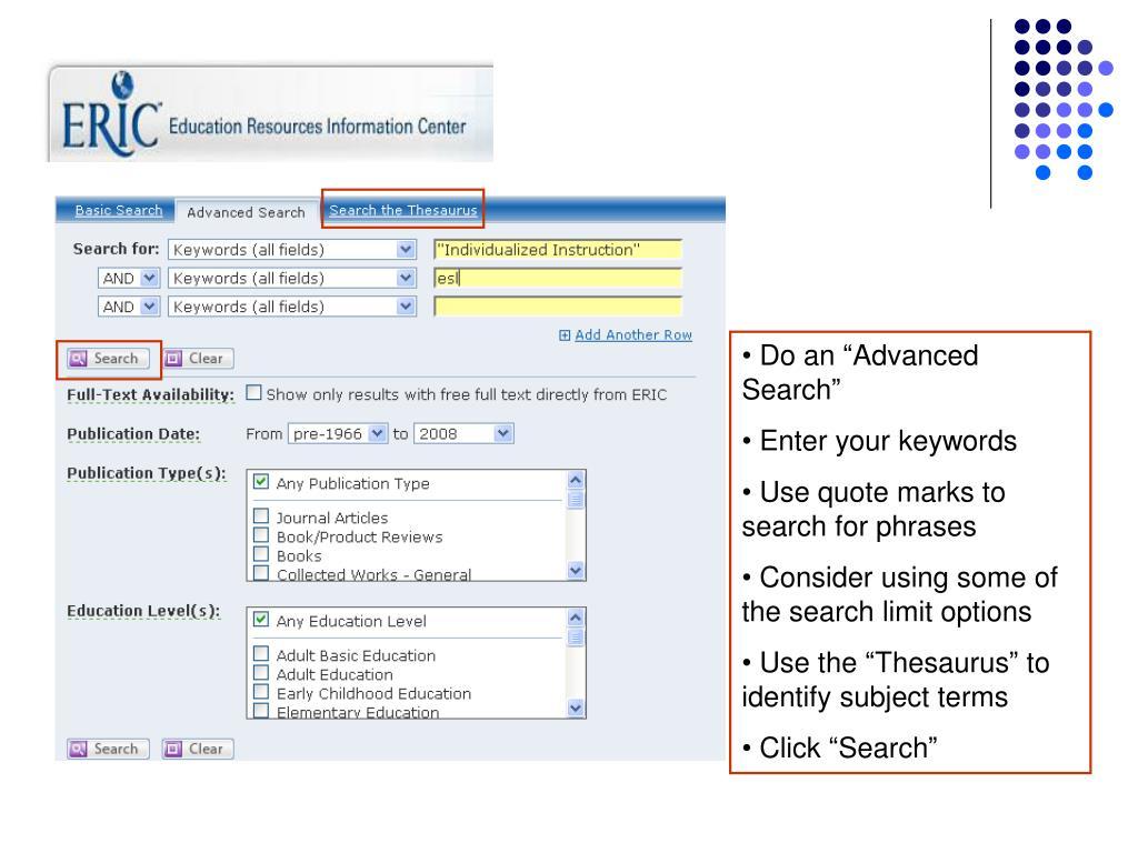 "Do an ""Advanced Search"""