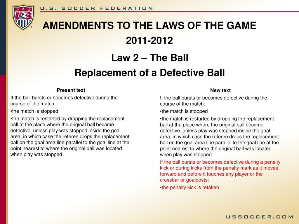 AMENDMENTS TO THE LAWS OF THE GAME