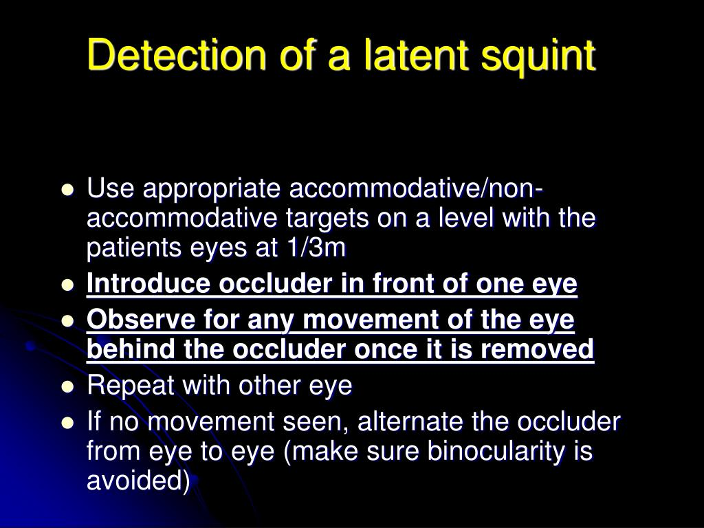 Detection of a latent squint