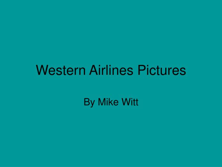 Western airlines pictures