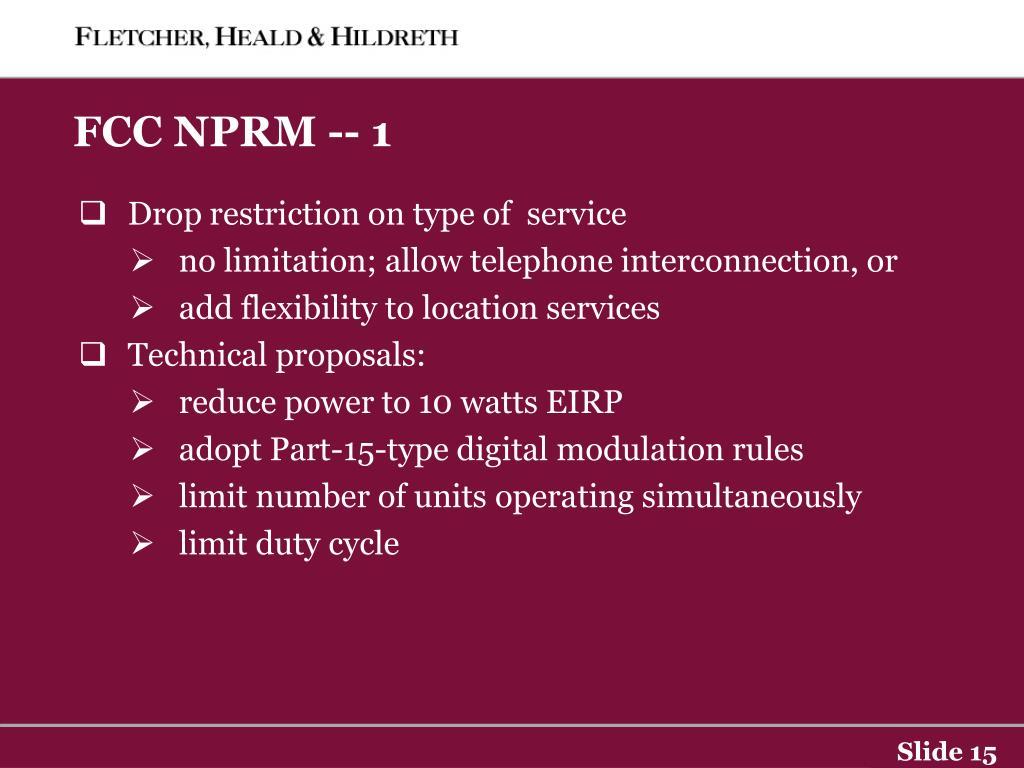 FCC NPRM -- 1