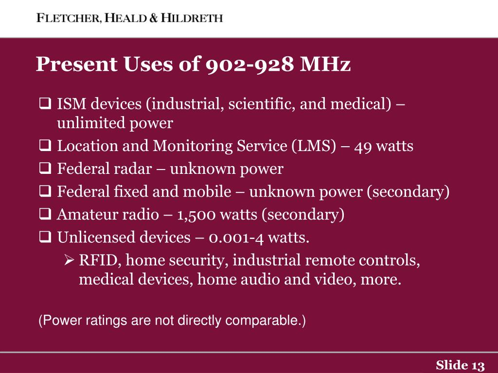Present Uses of 902-928 MHz