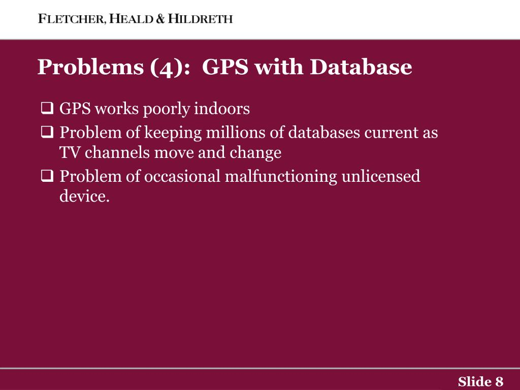 Problems (4):  GPS with Database