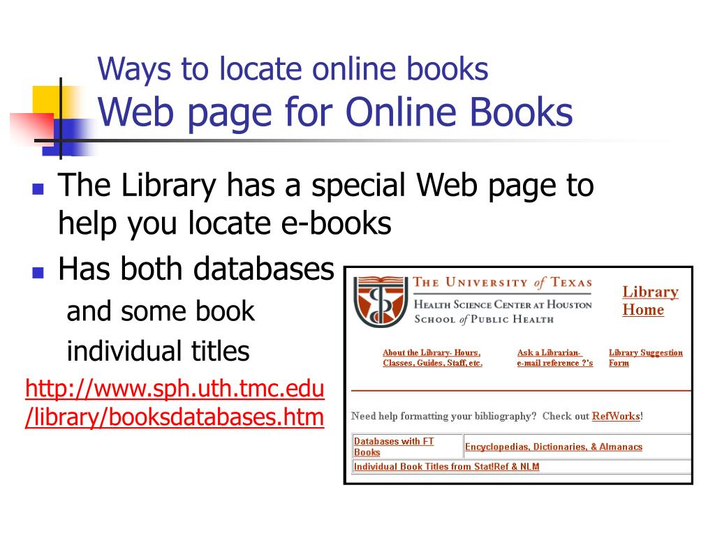 Ways to locate online books