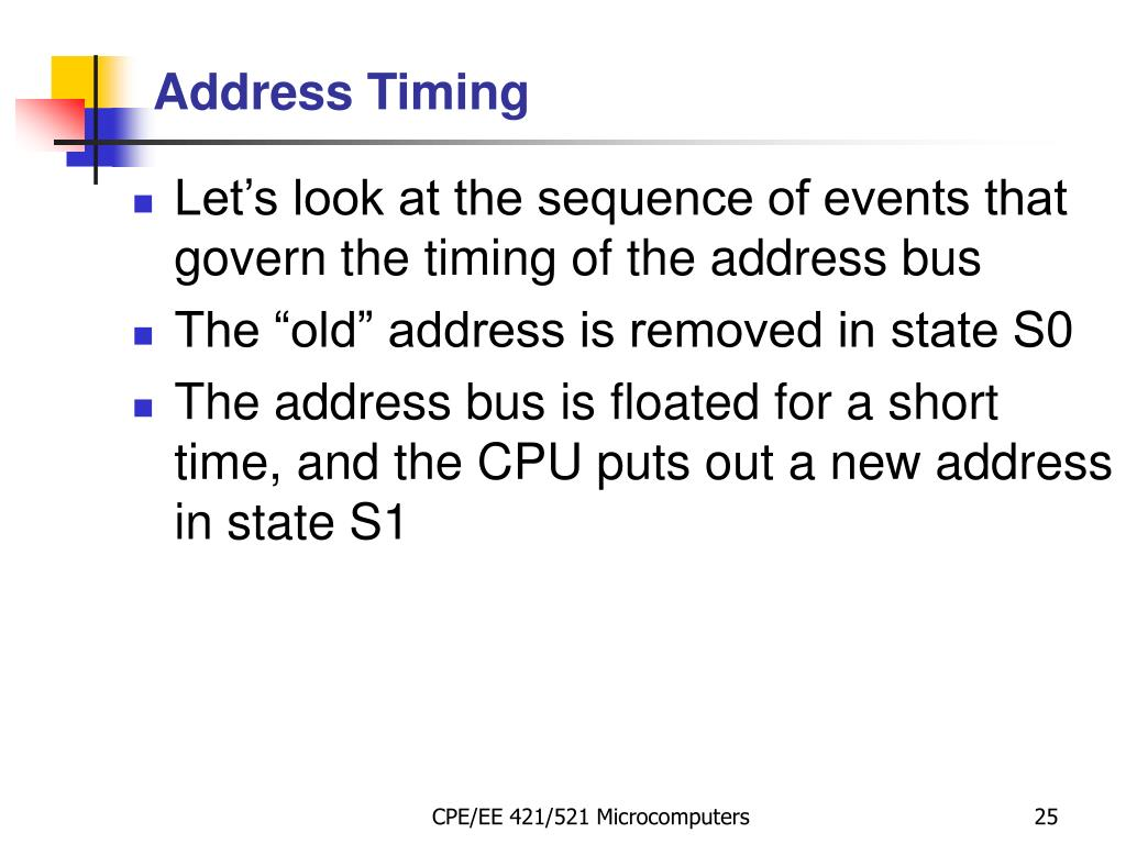 Let's look at the sequence of events that govern the timing of the address bus
