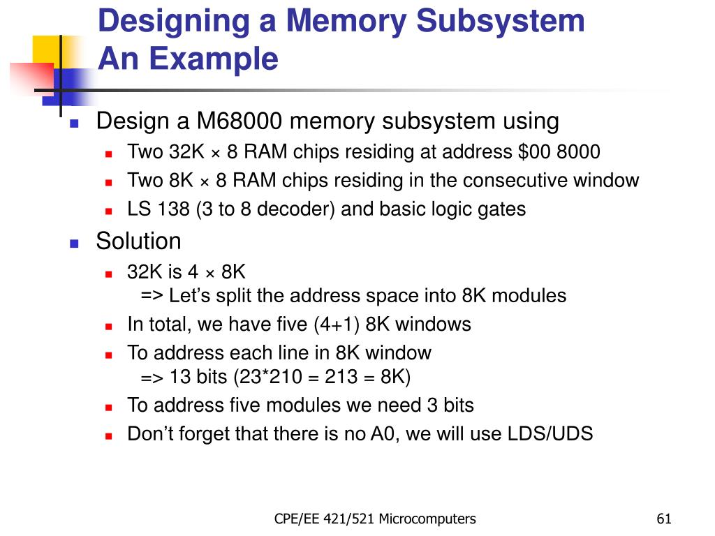Designing a Memory Subsystem