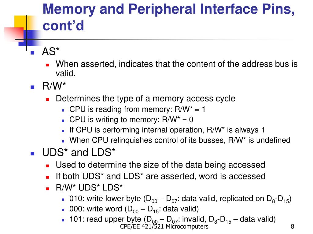 Memory and Peripheral Interface Pins, cont'd