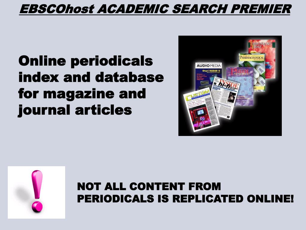 EBSCOhost ACADEMIC SEARCH PREMIER