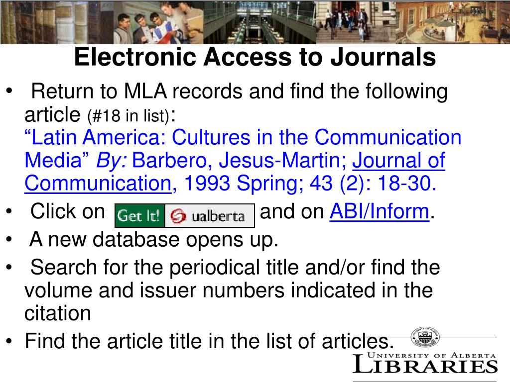 Electronic Access to Journals