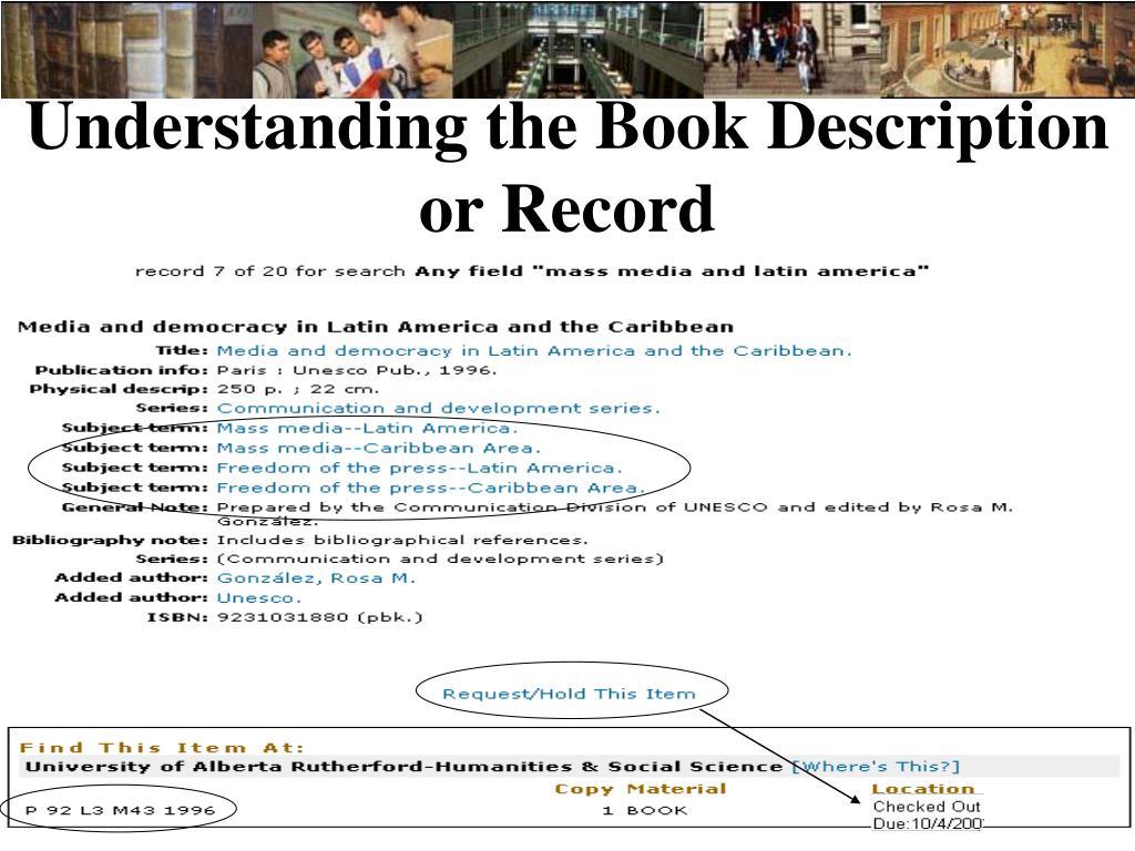 Understanding the Book Description or Record