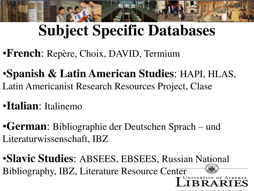 Subject Specific Databases
