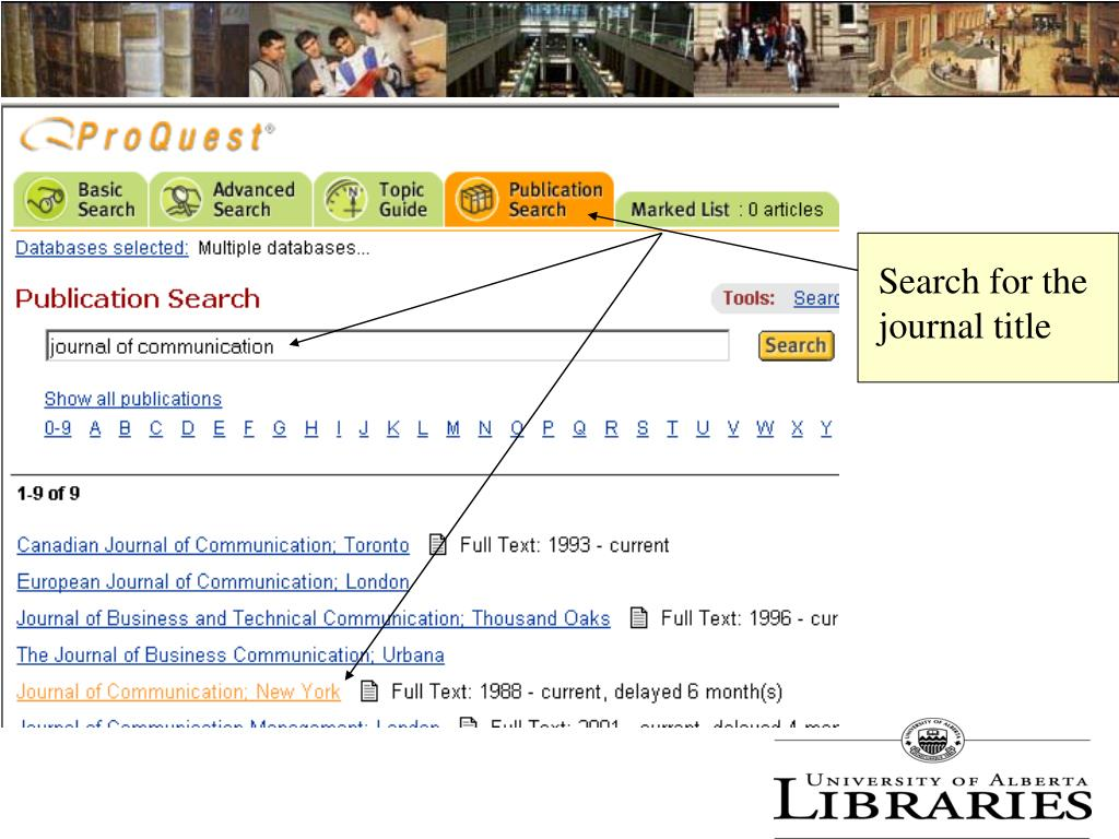 Search for the journal title
