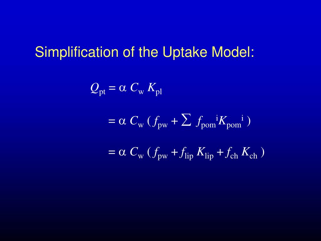 Simplification of the Uptake Model: