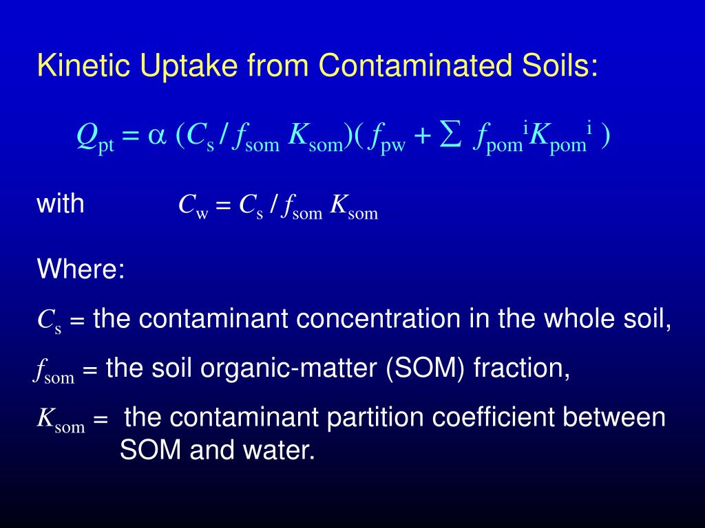 Kinetic Uptake from Contaminated Soils: