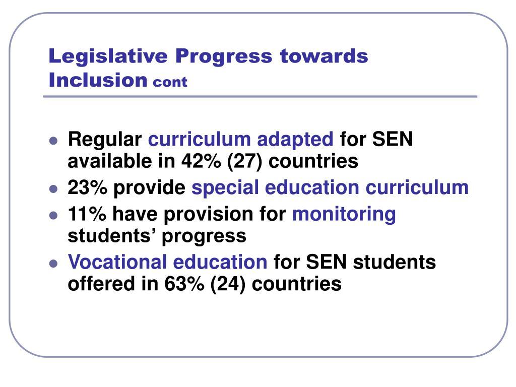 Legislative Progress towards Inclusion