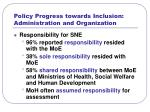 policy progress towards inclusion administration and organization