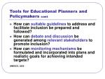 tools for educational planners and policymakers cont