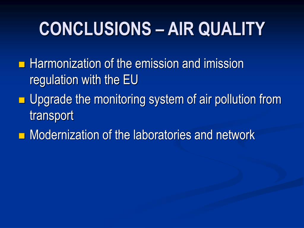 CONCLUSIONS – AIR QUALITY