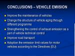conclusions vehicle emiision