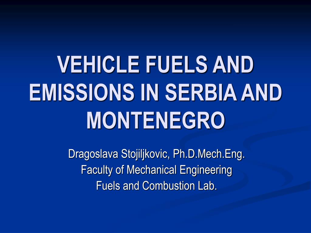 vehicle fuels and emissions in serbia and montenegro
