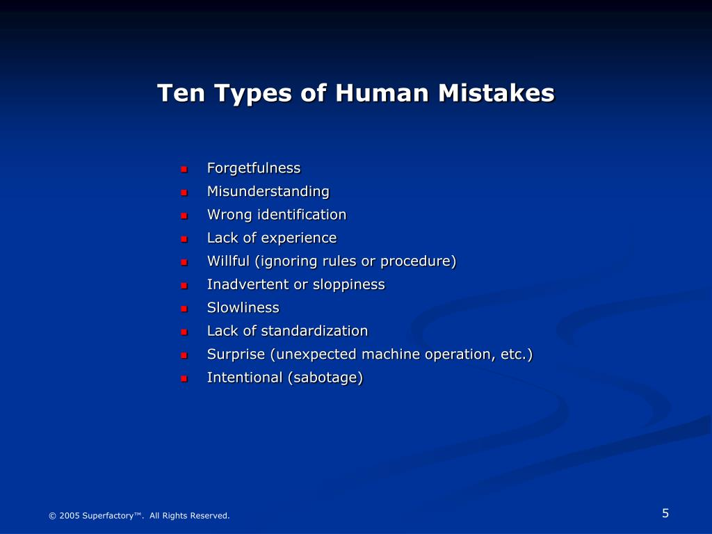 Ten Types of Human Mistakes