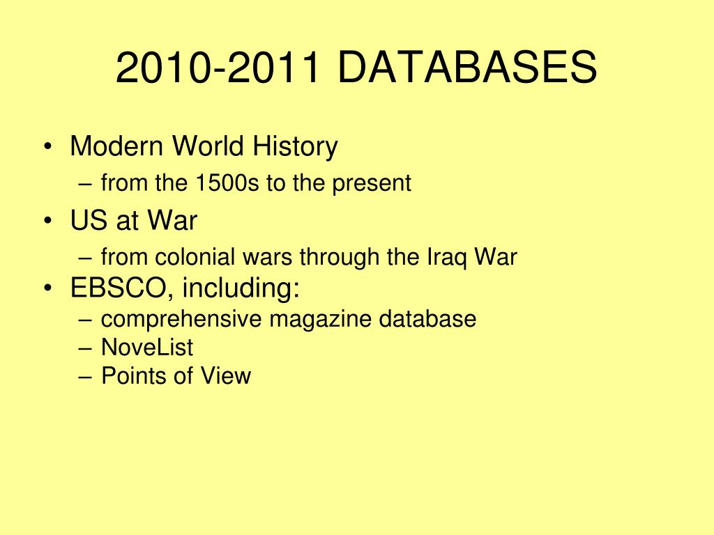 2010-2011 DATABASES