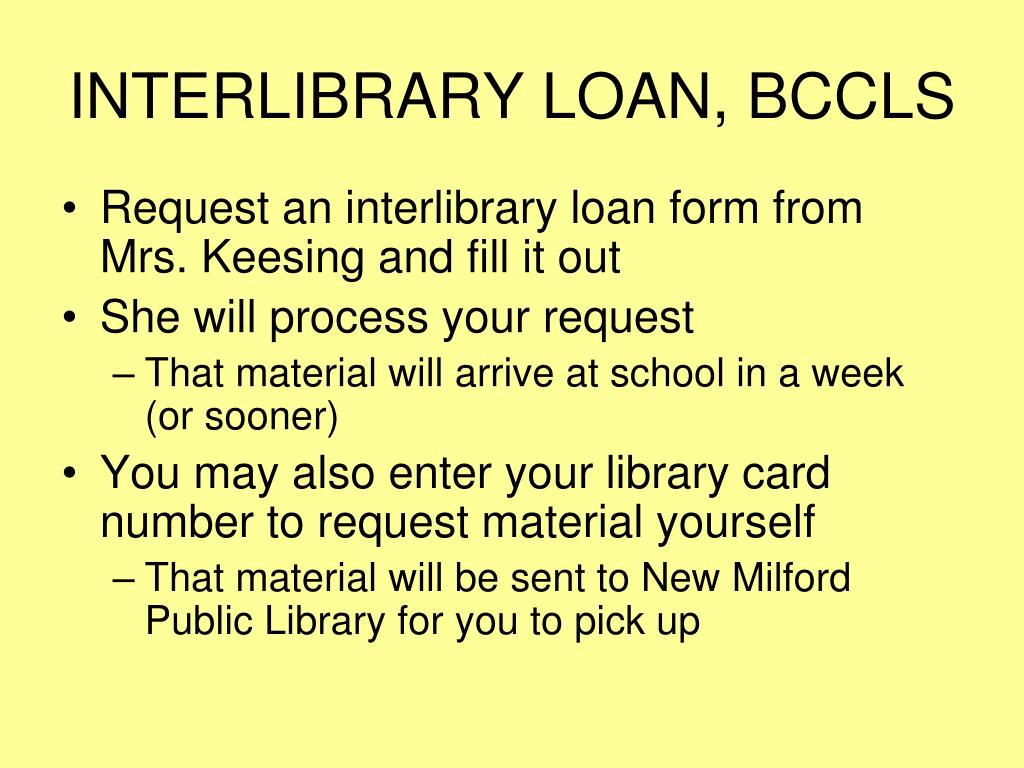 INTERLIBRARY LOAN, BCCLS
