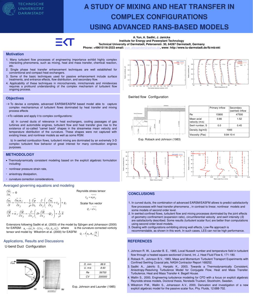 a study of mixing and heat transfer in complex configurations using advanced rans based models