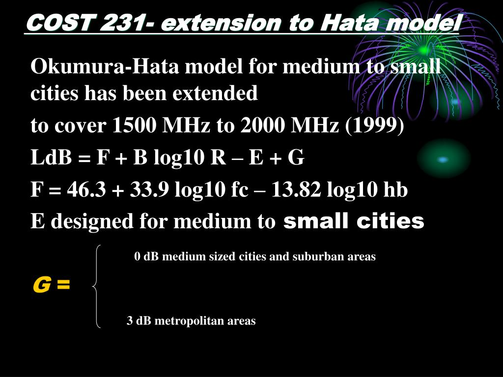 COST 231- extension to Hata model