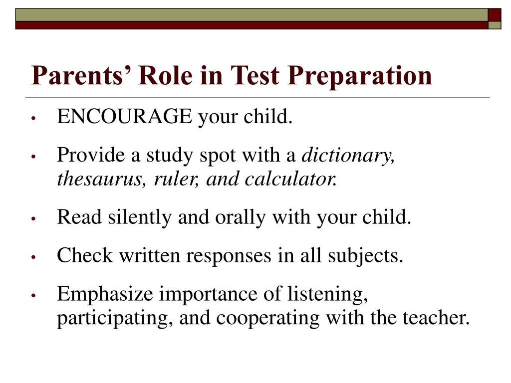 Parents' Role in Test Preparation