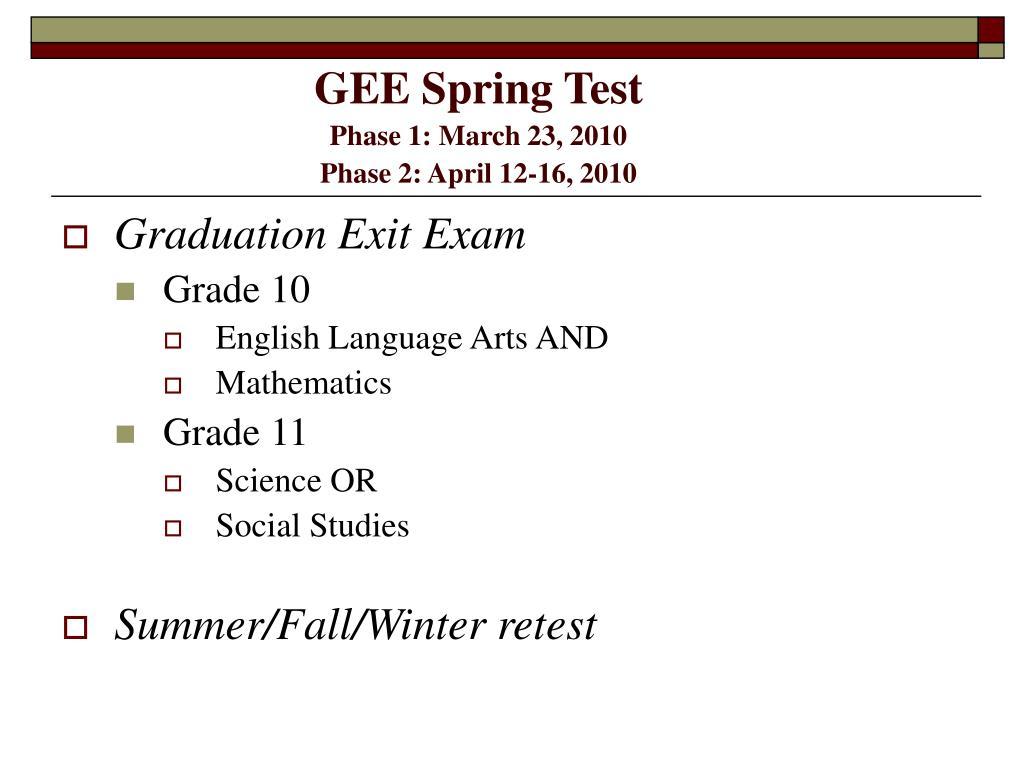 GEE Spring Test