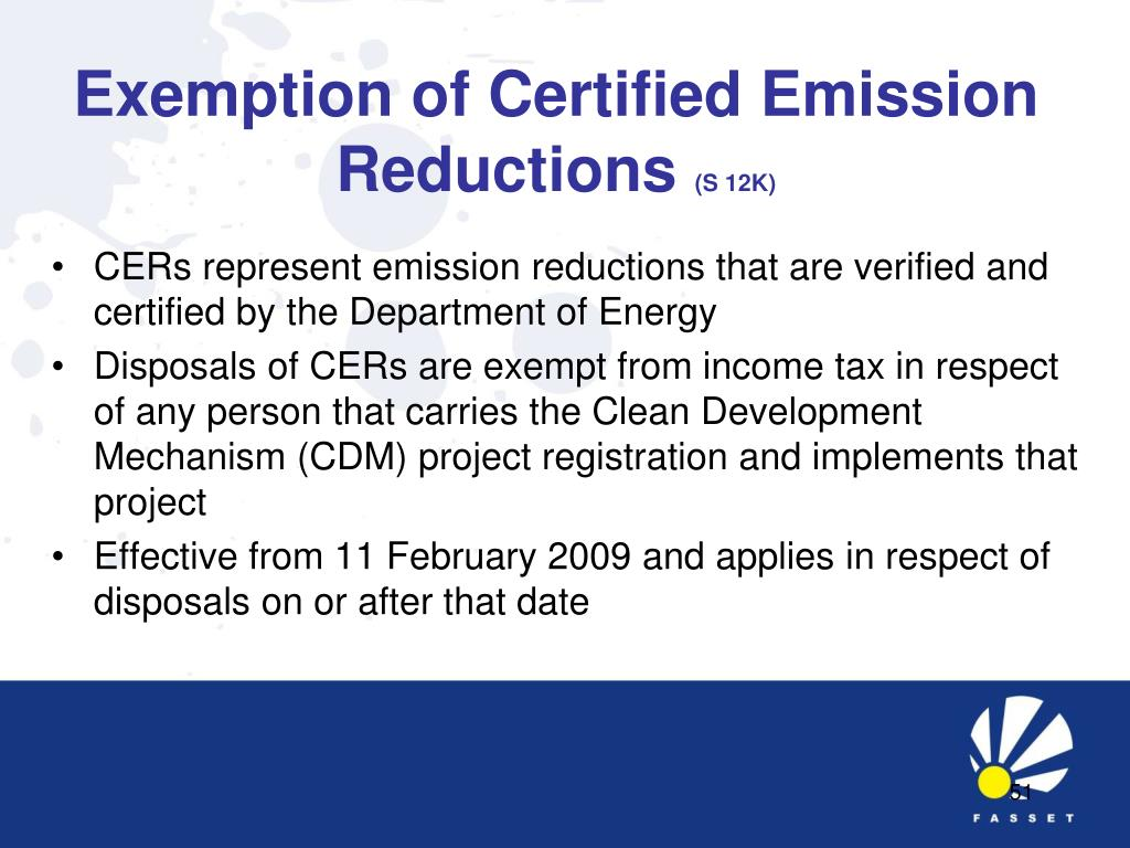 Exemption of Certified Emission Reductions