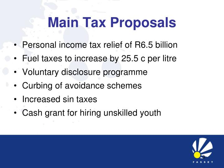 Main tax proposals