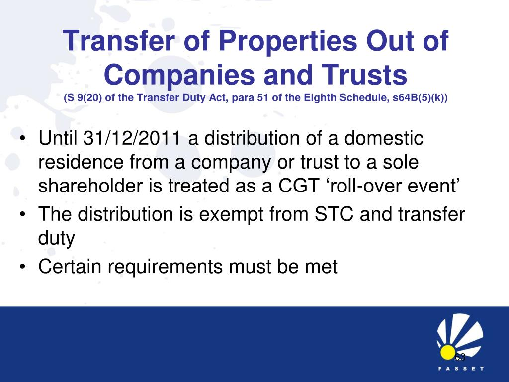 Transfer of Properties Out of Companies and Trusts