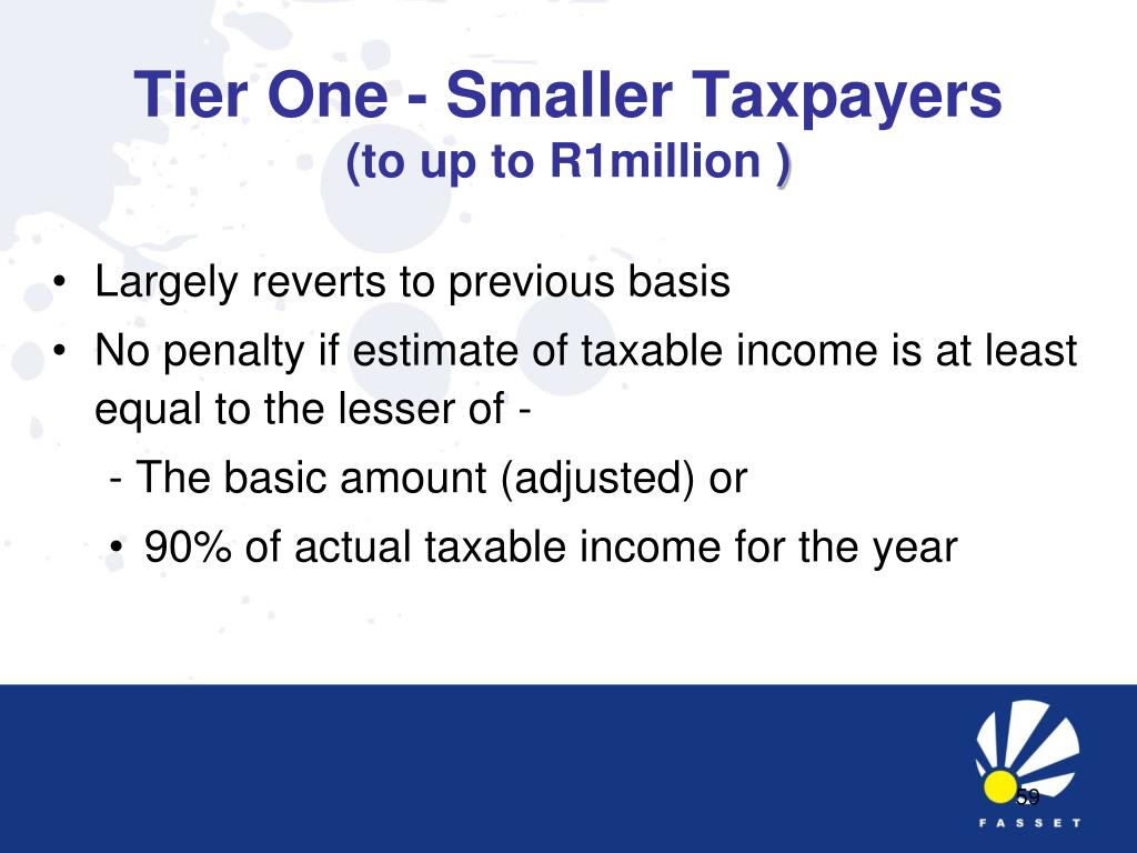 Tier One - Smaller Taxpayers