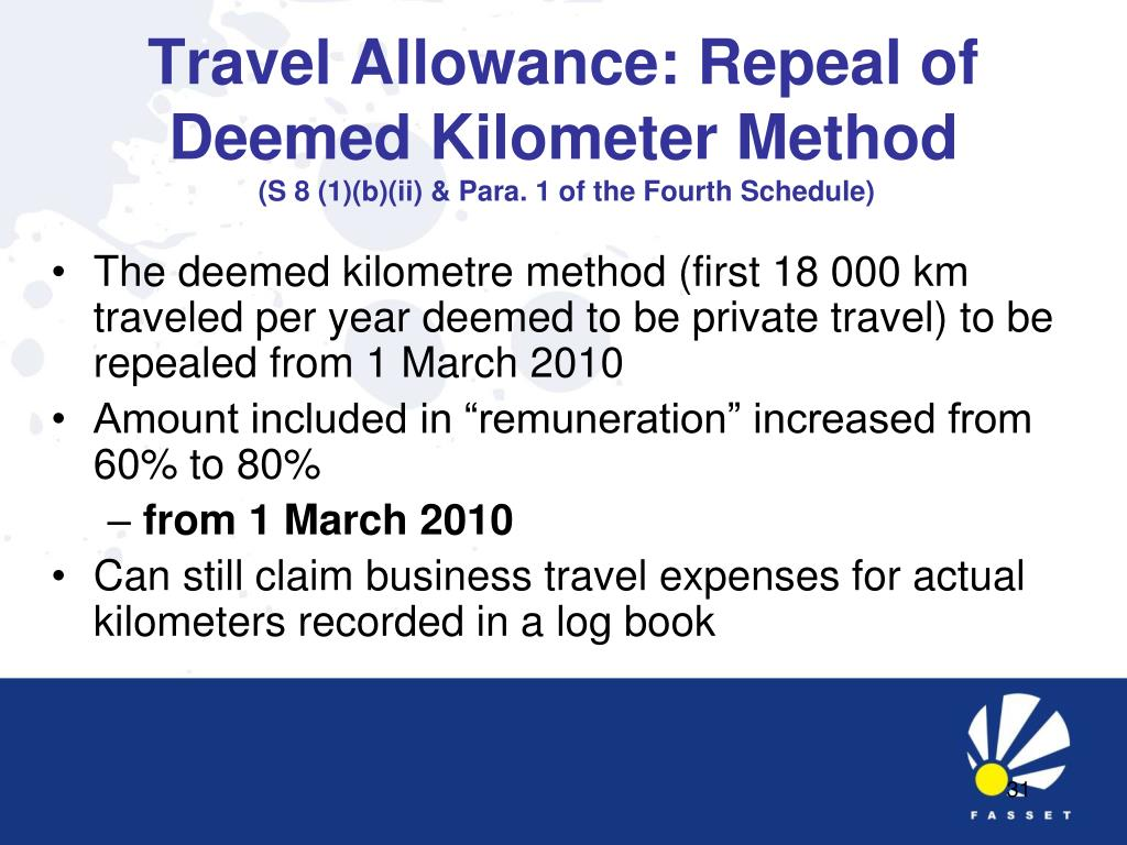 Travel Allowance: Repeal of Deemed Kilometer Method