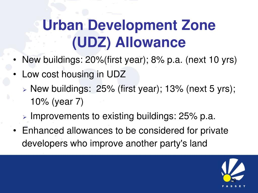 Urban Development Zone (UDZ) Allowance