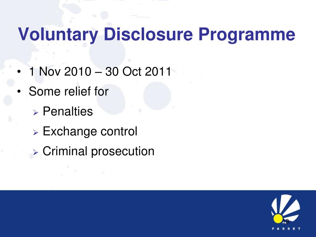 Voluntary Disclosure Programme
