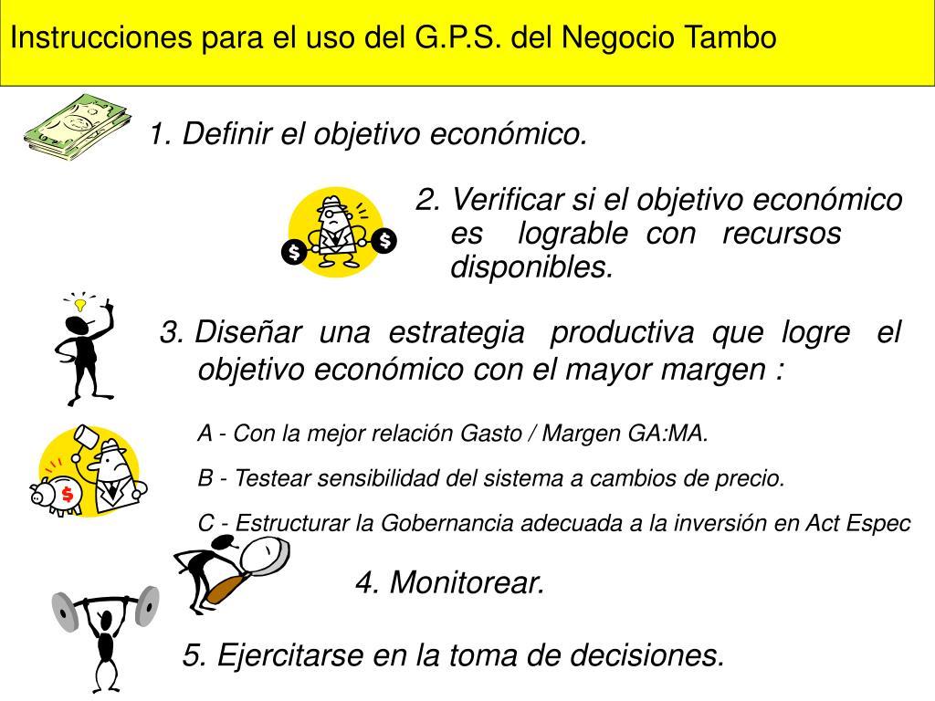 Instrucciones para el uso del G.P.S. del Negocio Tambo